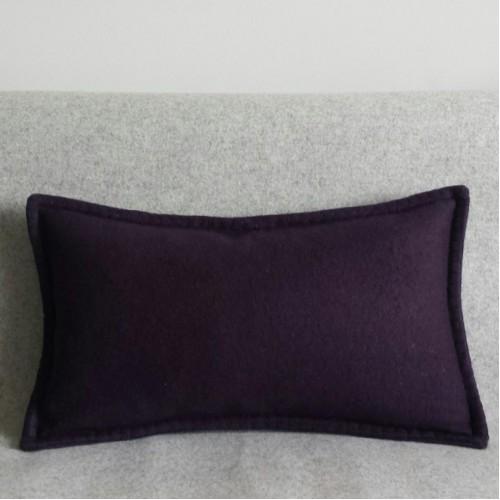 Felt with Blanket Stitch - cushion - rectangular - aubergine