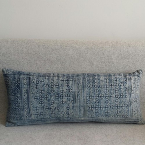 Vintage Hmong textile - rectangular - cushion - blue