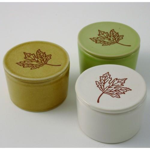 Ceramic Tea Lights Holders - set of 3 - beige, green or white
