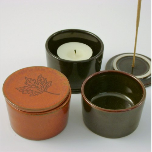 Ceramic Tea Lights Holders - set of 3 - brown - black - chocolate