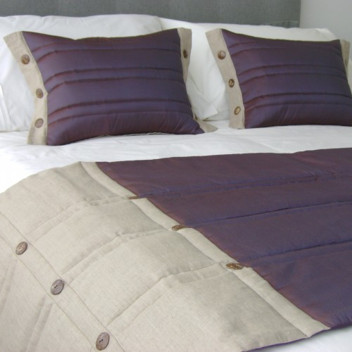Coco Button bed runner Set - Aubergine