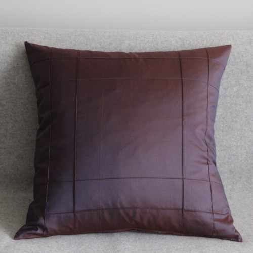 Stitched Grid - cushion - square - aubergine