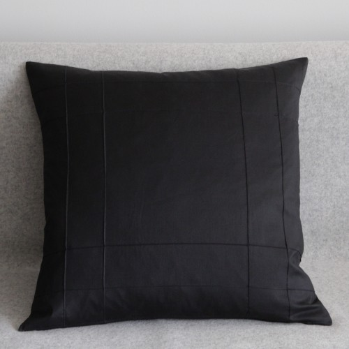 Stitched Grid - cushion - square - black