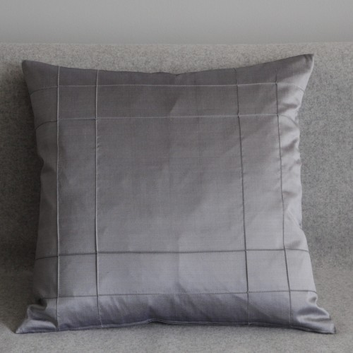 Stitched Grid - cushion - square - silver