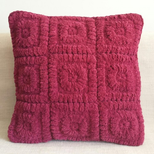 Crochet Squares - square- cushion - pink