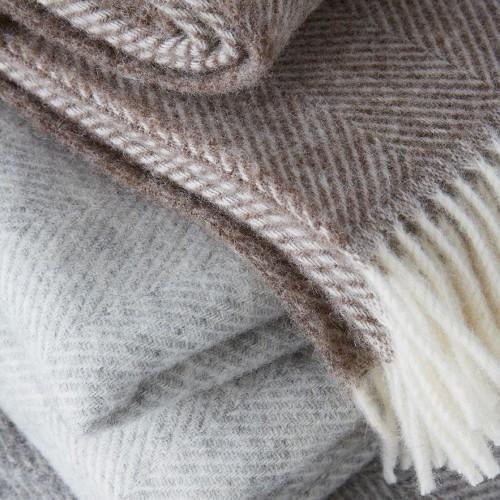 Herringbone Throw - pure new wool