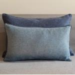 Herringbone Wool cushion - rectangular - blues