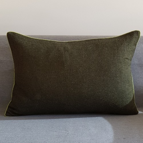 Herringbone Wool cushion - large - rectangular - greens