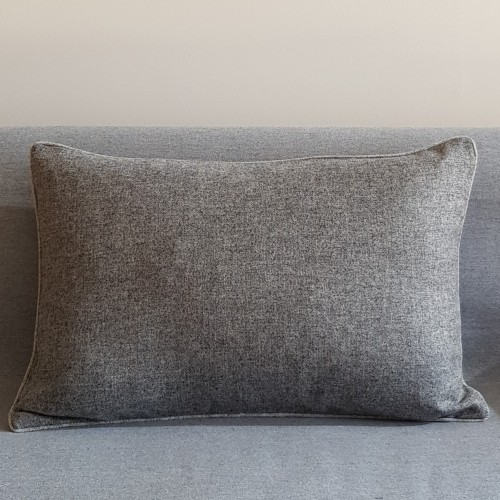 Herringbone Wool cushion - large - rectangular - greys