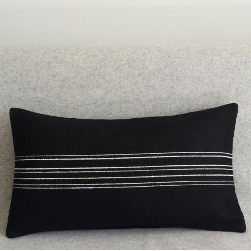 Felt with Stripes - cushion - rectangular - black