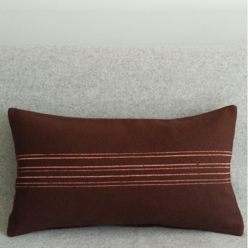 Felt with Stripes - cushion - rectangular - chocolate
