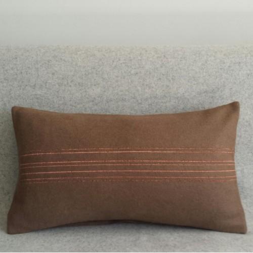 Felt with Stripes - cushion - rectangular - coffee