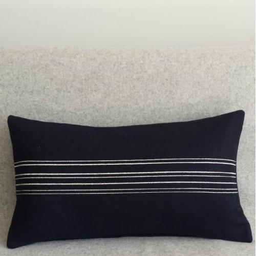 Felt with Stripes - cushion - rectangular - navy