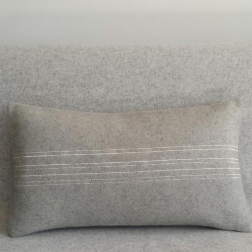 Felt with Stripes - cushion - rectangular - grey
