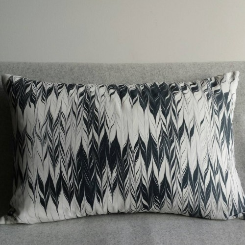 Marbled cushion - large rectangular - black