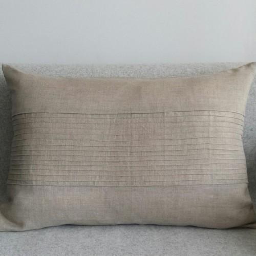 Pintuck Panel - large - rectangular - cushion - natural