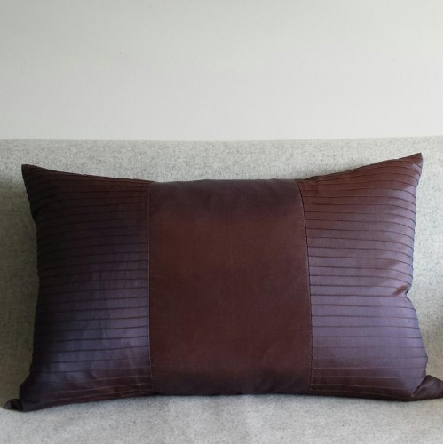 Pintuck Stripes 1 Panel - large - rectangular - cushion - aubergine