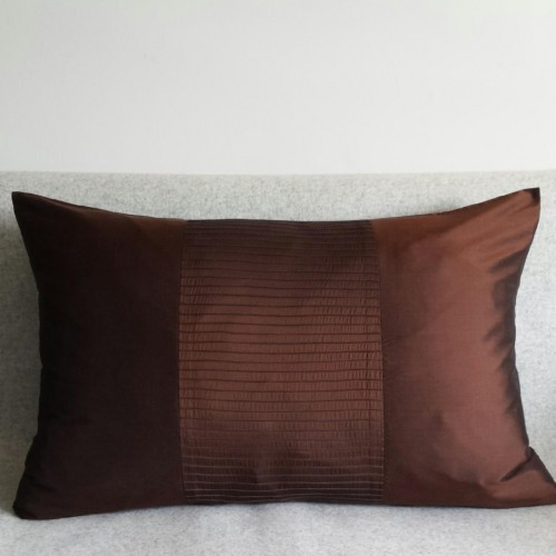 Pintuck Stripes 1 Panel - large - rectangular - cushion - chocolate