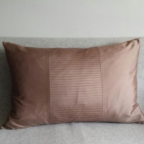 Pintuck Stripes 1 Panel - large - rectangular - cushion - coffee