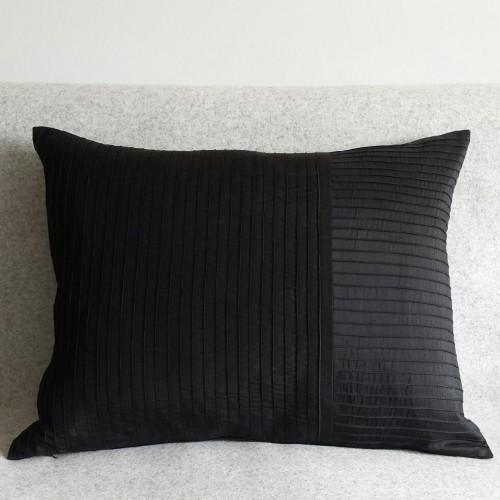 Pintuck Stripes - cushion - rectangular - black