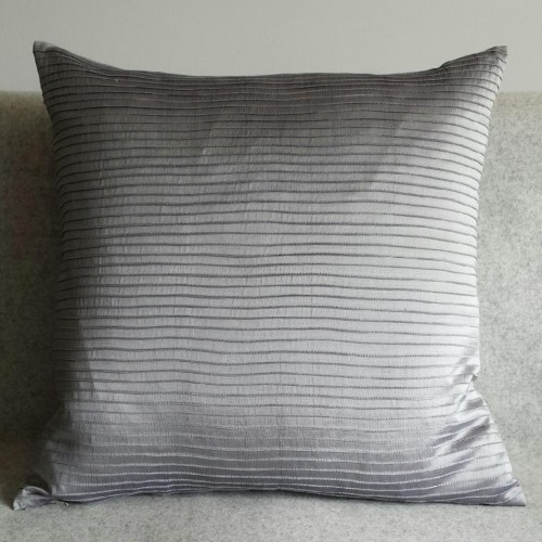 Pintuck Stripes - cushion - square - silver