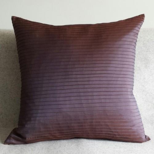Pintuck Stripes - cushion - square - aubergine