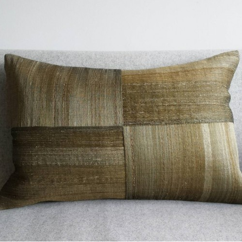 Raw Silk 4 Panel - large - rectangular - cushion - earth