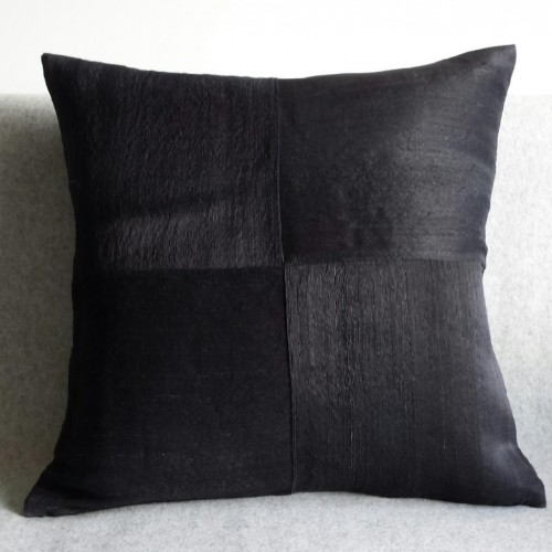 Raw Silk 4 Panel - square - cushion - black