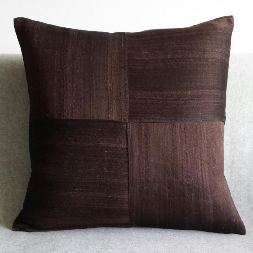 Raw Silk 4 Panel - square - cushion - dark chocolate