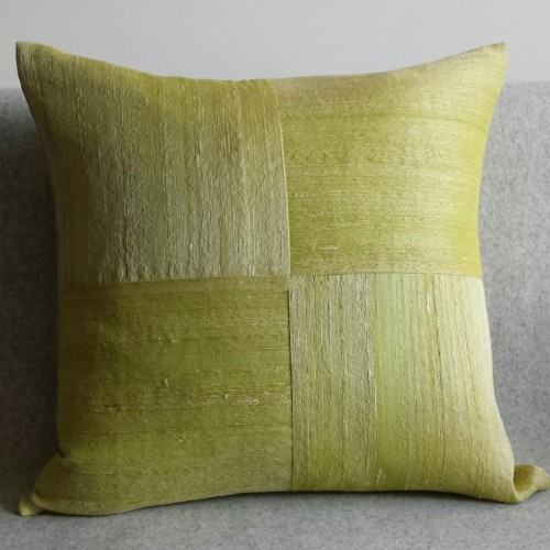 Raw Silk 4 Panel - square - cushion - lime
