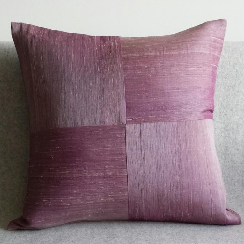Raw Silk 4 Panel - square - cushion - mauve