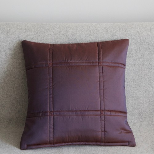 Stitched Grid cushion - small square - aubergine
