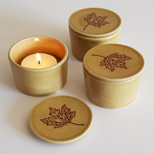 Tea Light Holders - set of 3 - beige