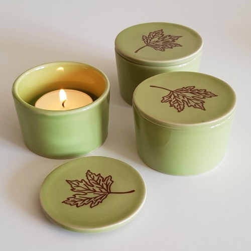 Tea Light Holders - set of 3 - green