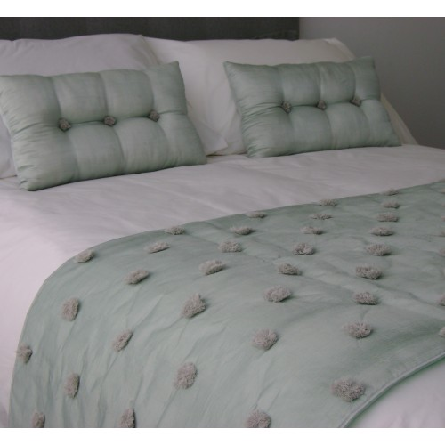 Tufted Bed Runner - Mint blue