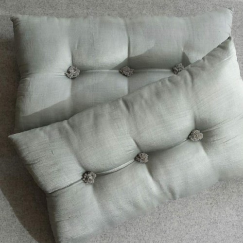 Tufted Cushion - rectangular - pale blue x2 SAVE £6 !