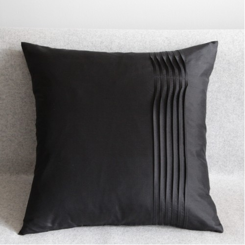 Twisted Pleat - cushion - square - black