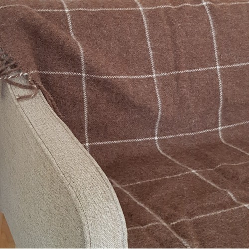 Window Pane Check Throw - brown