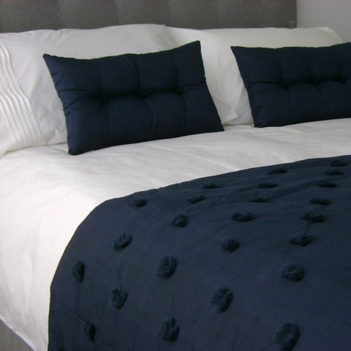 Tufted Bed Runner - Navy