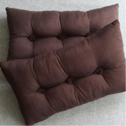 Tufted Cushion - rectangular - Chocolate x2 SAVE £6 !